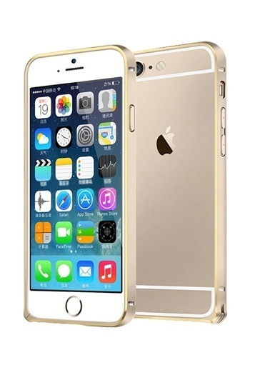 Microsonic iPhone  6 Plus (5.5'') Ultra Thin Metal Bumper Kılıf Gold & Gold Renkli